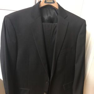 Men's Calvin Klein dark grey suit 100% wool new